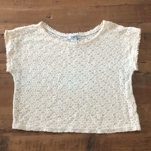 3/$18!! Pinky ivory lace top size M